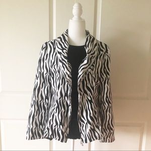 Samuel Dong Black & White Zebra Print Jacket/Sz Md